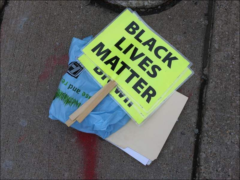 Black Lives Matter was one of several slogans used during Tuesday's rally.