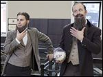 Actors portraying the Smith brothers bring attention to their beards at a Walgreens in Chicago.