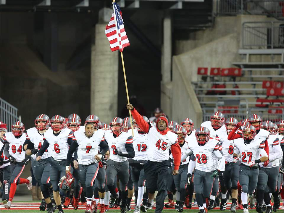 Central Catholic takes the field against  Athens during the Division III state football championship in Columbus.