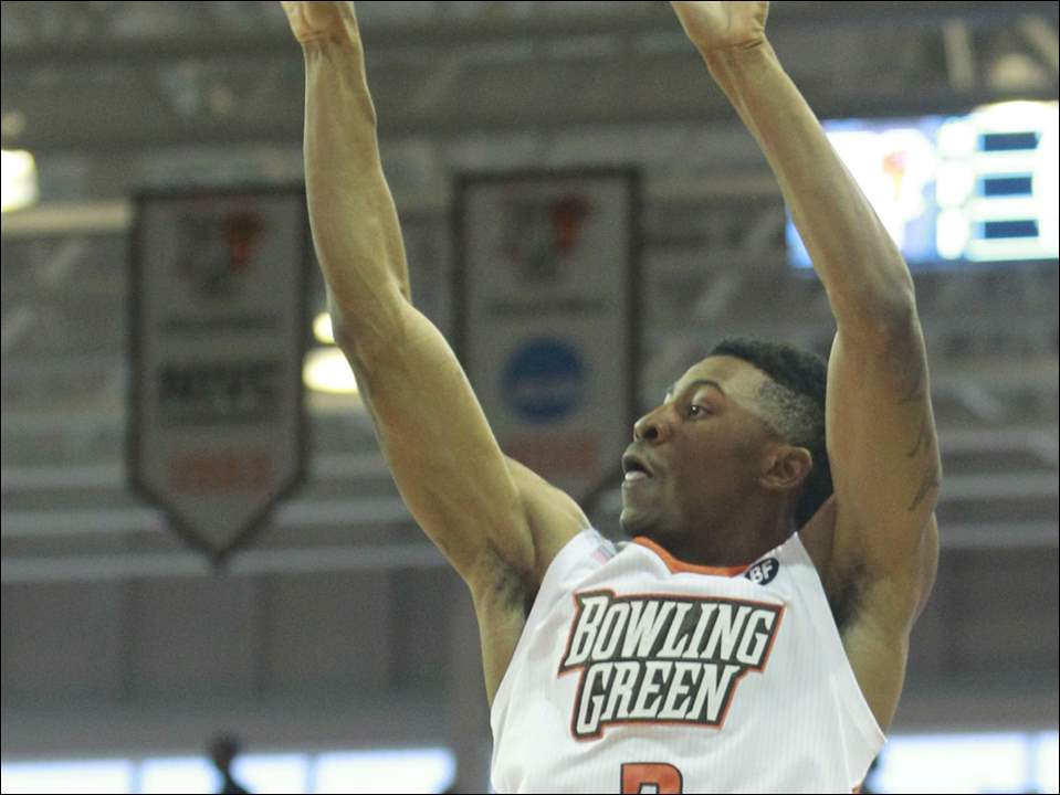 Bowling Green State University's Anthony Henderson shoots against Alabama A&M during the men's basketball game at Stroh Center in Bowling Green, Ohio on Saturday, Dec. 6, 2014.