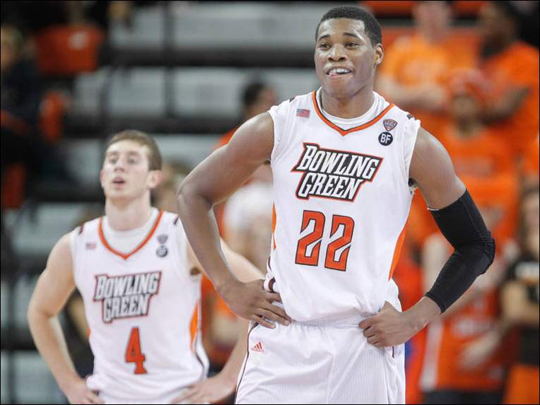 Bowling Green State's Richaun Holmes (22) smiles late in the game against Cleveland State.
