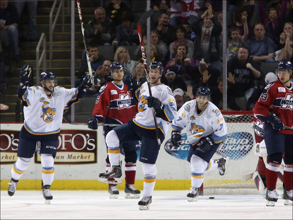 The Walleye celebrate their second goal of the game during the second period.