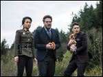 Diana Bang, Seth Rogen, and James Franco in a scene from the film 'The Interview.'