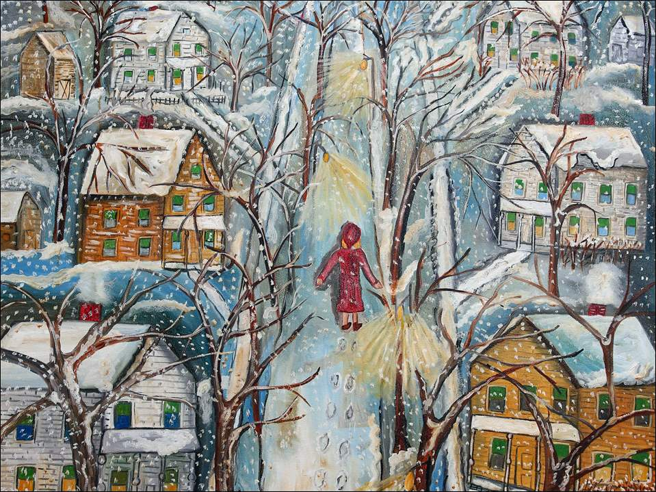 "Walking in the Snow"" portrays a 14-year-old Bernadine Stetzel, the artist, on her street in Tiffin. ""I loved to walk in the snow,"" says Mrs. Stetzel, 87, who had a red coat and recalls the green shades in windows of nearly every home. ""I have a pretty good memory."""
