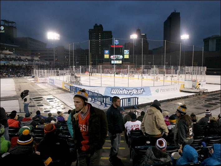Fans takes their seats for the first outdoor hockey game in ECHL history at Fifth Third Field.