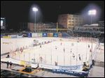 The Walleye played Kalamazoo during the first outdoor hockey game in ECHL history Dec. 27 at Fifth Third Field in Toledo.