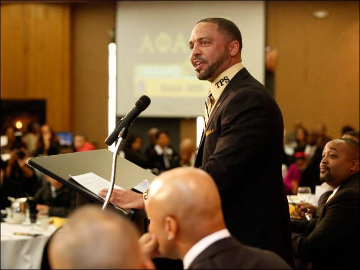 Dr. Romules Durant, Superintendent of Toledo Public Schools, gives his acceptance speech for after being awarded the Drum Major Award during the Alpha Xi Lambda Chapter, 23rd Annual Dr. Martin Luther King Jr. Scholarship Breakfast at The Pinnacle on January 17, 2015.