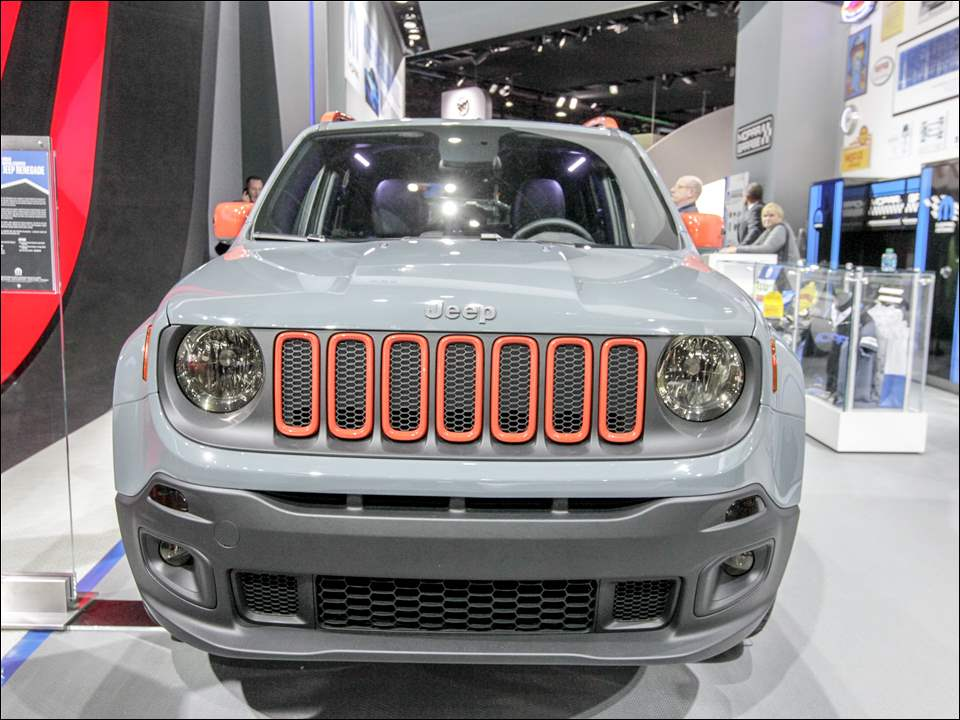 The iconic Jeep grill on a 2015 Jeep Rengade for the urban adventurer at the 2015 North American International Auto Show, in Detroit, Michigan on January12, 2015.   The Blade/Jetta Fraser
