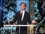 William H. Macy accepts the award for outstanding male actor in a comedy series for 'Shameless' at the 21st annual Screen Actors Guild Awards on Sunday. Unfortunately, his aceptance speech included one of the show's most awkward moments.