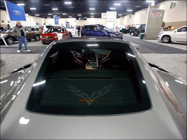 The rear view of a 2015 Corvette Stingray during the Toledo Auto Show at the SeaGate Convention Centre.