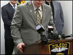 Toledo Police Chief George Kral discusses the Lt. Frank Ramirez case at the city's Safety Building last week.