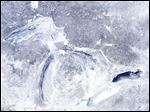 Ice coverage of the Great Lakes as seen on Thursday from a satellite image.