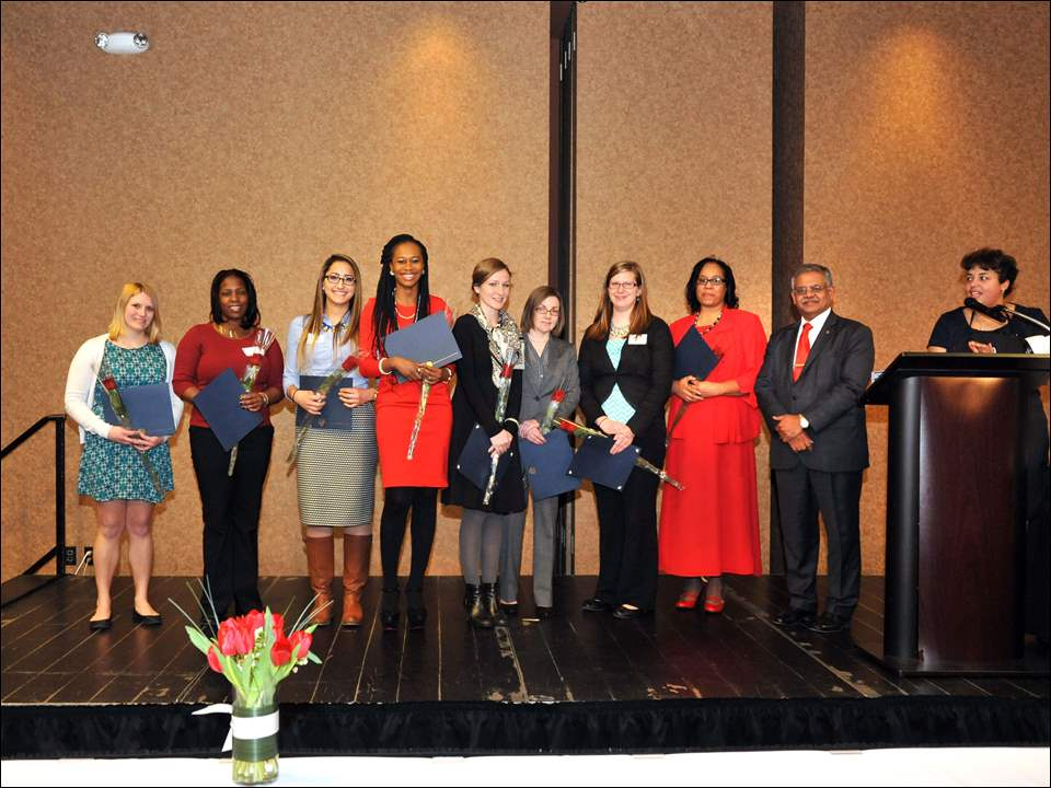 From left to right: Marissa Tanner, Rosheda Sims, Hanan Saleh, Assumpta Nwaneri, Lauren Marshall, Heather Emch, Elise Hoefflin, Chesstealia Benson and UT's Interim President, Dr. Nagi Naganathan.