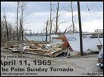 The cover of '50 years later ...' shows the damage from the deadly Palm Sunday tornado at the Devils Lake area.