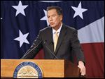 Ohio Gov. John Kasich delivers his State of the State address at the Roberts Centre in Wilmington, Ohio.