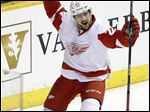Detroit Red Wings left wing Tomas Tatar, of Slovakia, celebrates after scoring a goal against the Nashville Predators in the third period of an NHL hockey game Saturday, Feb. 28, 2015, in Nashville, Tenn. (AP Photo/Mark Humphrey)