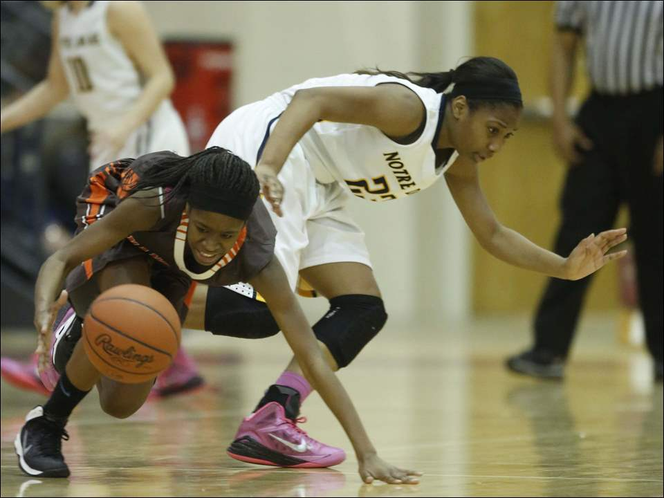 Notre Dame Academy player Christina Jefferson (23) and Mansfield Senior player Chadaybria Feagin (3) battle for a loose ball.