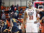 Bowling Green State University forward Richuan Holmes reacts to losing to Kent State.