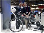 The ebike from Ford is demonstrated at the Mobile World Congress, the world's largest mobile phone trade show, in Barcelona. The electric bikes can be connected to a Bluetooth heart-rate monitor to optimize any workout and programmed to let you cool down during the final stretch of your exercise session.  It's still in the experimental stage.