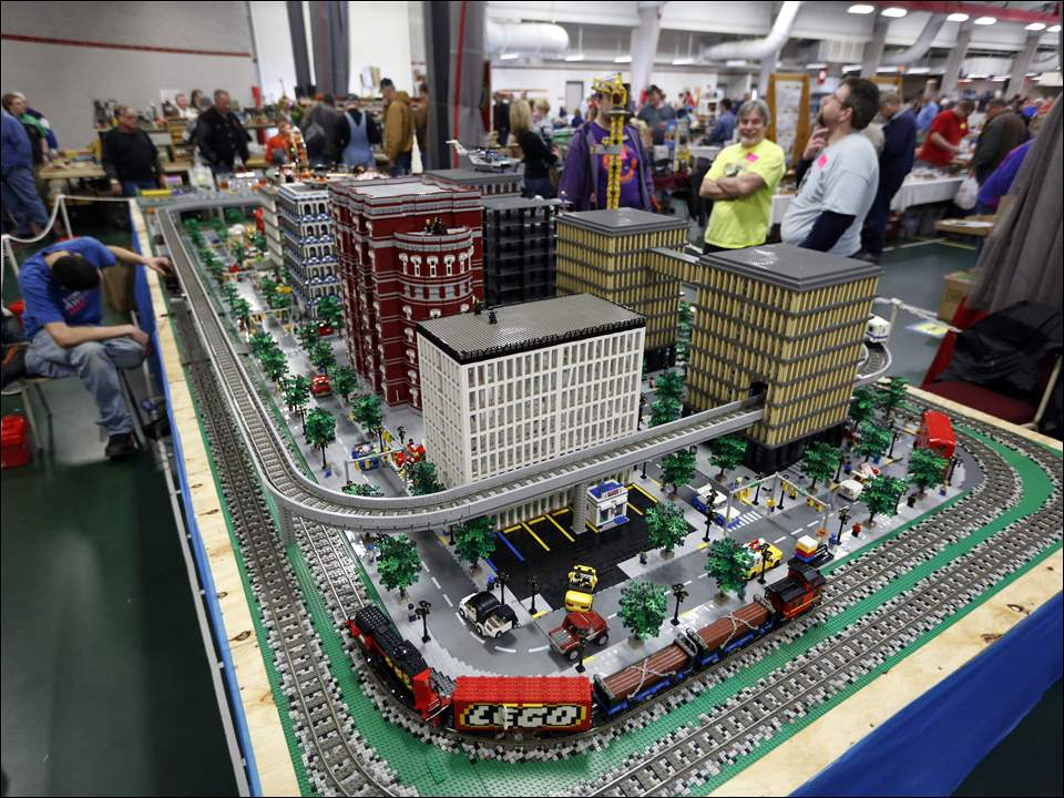 "A giant LEGO city made by a group with members from all over Michigan called ""Adult Fans of LEGO."""