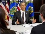 President Barack Obama announced steep emission cuts by the federal government.