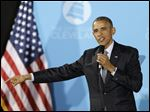 President Obama speaks at The City Club of Cleveland.