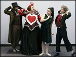Members of the Toledo Ballet production of Alice in Wonderland from left: Phillipe Taylor (Mad Hatter), Juliette Morgan Quinlan (Queen of Hearts), Semira Warrick (Alice), and Madeline Rick (March Hare).