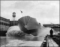 A mighty splash attended the launching of the Coast Guard's new cutter, Storis, in the Toledo Shipbuilding Co. yards on March 29, 1942. The Storis slid sidewise down the ways and kicked up a wave that drenched the far side of the launching basin.