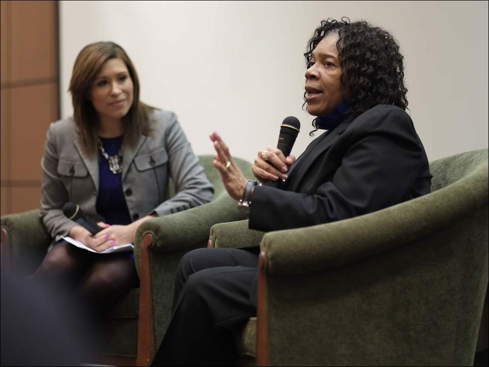 Mayor Paula Hicks-Hudson speaks as WTVG-TV anchor Kristian Brown interviews her.