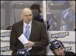 Toledo head coach Derek Lalonde watches from the bench as the Walleye play the Missouri Mavericks on March 20.