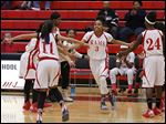 Zia Cooke is introduced before a McTigue Middle School game. Cooke plans to attend Rogers High School.