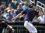 Cleveland Indians' Brandon Moss connects for a double against the Chicago White Sox during the fifth inning.