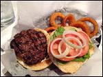 Hamburger and onion rings from T-Town Pub-n-Grub.