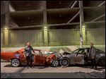 Vin Diesel, left, as Dom Toretto, and Jason Statham as Deckard Shaw, in a scene from 'Furious 7.'
