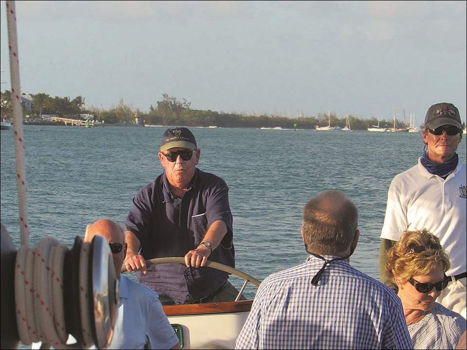 Art Raker at the helm of the 105 foot Schooner America 2, out of Key West, Fla.