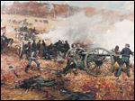 Gilbert Gaul (American, 1855–1919), 'Battery H 1st Ohio Volunteers Light Artillery in Action at Cold Harbor.' Oil on canvas, 1893.