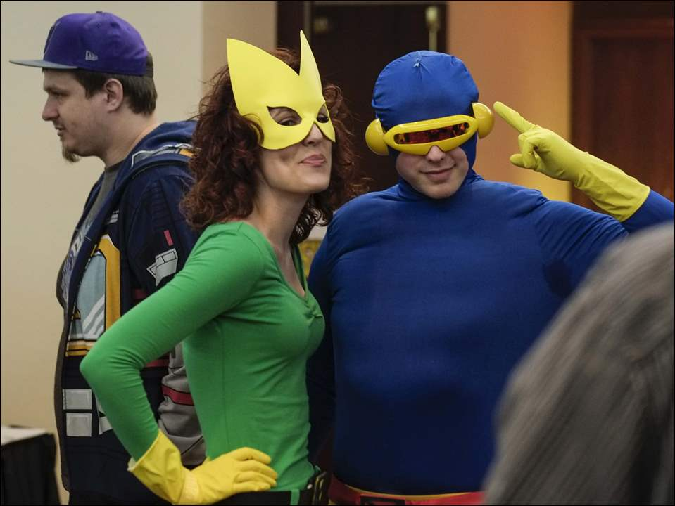 Jen Braun, of Toledo, dressed as Marvel Girl, and Greg Kissner, of Sylvania, dressed as Cyclops.