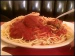A spaghetti and meatballs from Inky's Italian Restaurant.