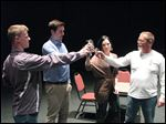 Eric Huffman, Andrew Reese, Sarah Wright, Tim Robinson rehearse a scene ahead of the  Lourdes University Drama Society Festival of One Acts, which runs Friday through Sunday.