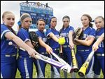 Elmwood was 24-5 and reached the Division III regional final last season. Top returning players are, from left, Lindsay George, Rebecca Harvey, Olivia Myers, Miranda Benschoter, Jasmine Marsh, Molly Robinson, and Kristi Reiser.
