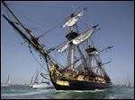 The three masts of the 213 feet long frigate Hermione sails at La Rochelle, southwest France, as part of preparation of a trip to America, Wednesday.