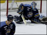Toledo goalie Jeff Lerg stopped 55 of 59 shots in the Walleye's first two playoff games.