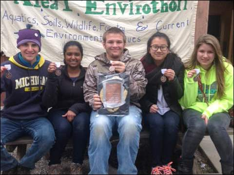 From left, Julian Liber, Pallavi Lanka, Cody Schroeder, Melissa Liang, and Sydnie Davis won 3rd place in the regional tournament and will advance to state level competition in June.