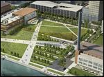 ProMedica's plan for the downtown site includes a parking garage, upper left, in part of what is now Promenade Park.
