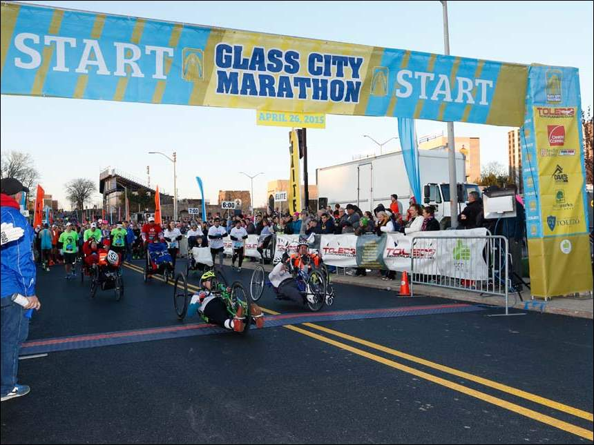 The wheeling athletes are the first event of the Glass City Marathon.