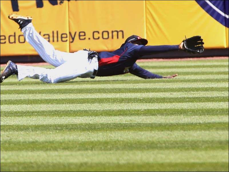Toledo's centerfielder Xavier Avery (3) makes the long catch for the out during the top of the sixth inning.