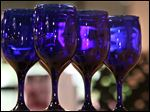 Cobalt Blue stemware on sale at Libbey Glass on May 14, 2008.
