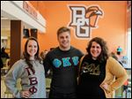 Left to right Tiffany Mitchell, Greg Robison, and  Emily Soster enjoy Greek Life at Bowling Green State University.