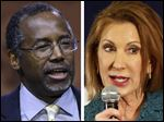 Retired neurosurgeon Ben Carson, left, and former technology executive Carly Fiorina announced today they are running for president.
