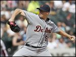 Detroit Tigers starting pitcher Kyle Lobstein delivers during the sixth inning.